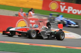 World © Octane Photographic Ltd. 2011. Belgian GP, GP3 Practice session - Saturday 27th August 2011. Matias Laine of Marussia Manor Motorsport taking a tight line around La Source. Digital Ref : 0204lw7d3724