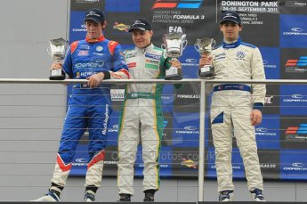 © Octane Photographic 2011 – British Formula 3 - Donington Park - Race 2. 25th September 2011, William Buller, Valtteri Bottas and Manasheh Idafar on the podium. Digital Ref : 0186lw1d7248