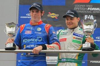 © Octane Photographic 2011 – British Formula 3 - Donington Park - Race 2. 25th September 2011, William Buller and Valtteri Bottas on the podium. Digital Ref : 0186lw1d7263