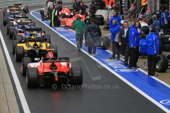 World © Octane Photographic Ltd. 2011. British GP, Silverstone, Saturday 9th July 2011. GP2 Practice Session Pit Lane. Lining up for Start of Session. Digital Ref: 0108LW7D5350