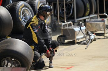 World © Octane Photographic Ltd. 2011. British GP, Silverstone, Saturday 9th July 2011. GP2 Race 1. DAMS Pit Crew waiting for a Pit Stop. Digital Ref: 0109LW7D6364