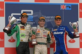 World © Octane Photographic Ltd. 2011. British GP, Silverstone, Saturday 9th July 2011. GP2 Race 1. Race 1 Podium, J. Bianchi - Lotus ART, C. Vietoris - Racing Engineering, M. Ericsson - iSport International Digital Ref: 0109LW7D6584