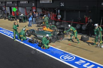 World © Octane Photographic Ltd. 2011. British GP, Silverstone, Saturday 9th July 2011. GP2 Race 1. Jules Bianchi - Lotus ART Pit Stop Action. Digital Ref: 0109LW1D2544