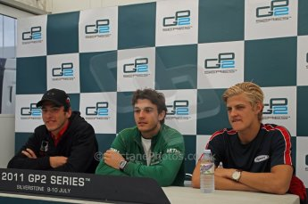World © Octane Photographic Ltd. 2011. British GP, Silverstone, Saturday 9th July 2011. GP2 Race 1. Race 1 Press Conference Digital. Ref: 0109LW1D2638
