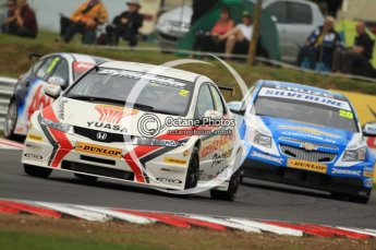 © Octane Photographic Ltd. 2011. British Touring Car Championship – Snetterton 300, Matt Neal - Honda Civic - Honda Racing Team, Alex MacDowell - Chevrolet Cruze - Silverline. Saturday 6th August 2011. Digital Ref : 0121CB7D9555