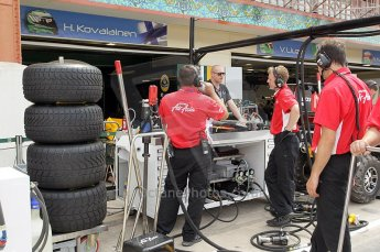 © Octane Photographic Ltd. 2011. European Formula1 GP, Friday 24th June 2011. GP2 Practice. Caterham Team AirAsia set up in front of the Team Lotus garage. Digital Ref: 0082CB1D6417