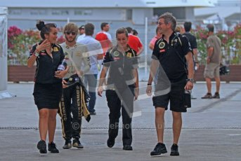 © Octane Photographic Ltd. 2011. European Formula1 GP, Friday 24th June 2011. Formula 1 paddock. Nick Heidfeld -  Lotus Renault GP Digital Ref:  0086LW7D5981
