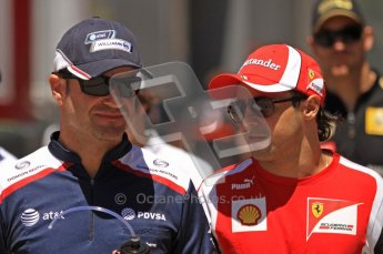 © Octane Photographic Ltd. 2011. European Formula1 GP, Sunday 26th June 2011. F1 Paddock Sunday. Rubens Barrichello - AT&T Williams chatting with Felipe Massa - Scuderia Ferrari Marlboro Digital Ref:  0089LW7D6427_0