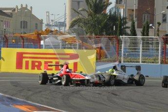© Octane Photographic Ltd. 2011. European Formula1 GP, Sunday 26th June 2011. GP3 Sunday race. Matias Laine - Marussia Manor Racing and Nigel Melker - RSC Mucke Motorsport. Digital Ref:  0091CB1D8661