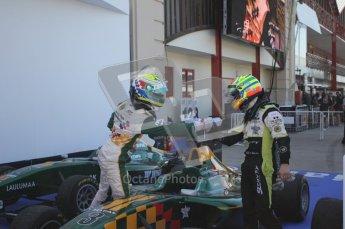 © Octane Photographic Ltd. 2011. European Formula1 GP, Sunday 26th June 2011. GP3 Sunday race.  James Calado - Lotus ART congratulates Alexander Sims - Status Grand Prix.Digital Ref:  0091CB1D8857