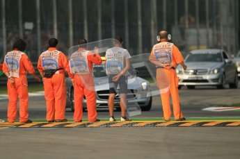 © Octane Photographic Ltd. 2011. Formula 1 World Championship – Italy – Monza – 10th September 2011 – pre-session marshall inspection. Free practice 3 – Digital Ref :  0175CB1D2449