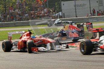 © Octane Photographic Ltd. 2011. Formula 1 World Championship – Italy – Monza – 11th September 2011 Mark Webber impact the rear left wheel of Felipe Massa's Ferrari in teh 1st chicane after the race resumes after the 1st accident – Race – Digital Ref : 0177CB7D7980