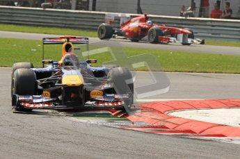 © Octane Photographic Ltd. 2011. Formula 1 World Championship – Italy – Monza – 11th September 2011 - Sebastian Vettel (Red Bull) leads Fernando Alonso's Ferrai – Race – Digital Ref : 0177CB7D8026