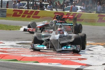 © Octane Photographic Ltd. 2011. Formula 1 World Championship – Italy – Monza – 11th September 2011 Michael Shumacher negotiating the chicane infield in his Mercedes– Race – Digital Ref : 0177CB7D8019