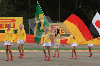 "© Octane Photographic Ltd. 2011. Formula One Belgian GP – Spa – Sunday 28th August 2011 – Drivers' parade and starting grid. The ""grid girls"" with the drivers' flags. Digital Reference : 0167lw7d8383"