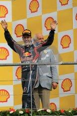 © Octane Photographic Ltd. 2011. Formula One Belgian GP – Spa – Sunday 28th August 2011. Sebastian Vettel walks onto the podium.Digital Reference : 0169cb1d0997