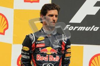 © Octane Photographic Ltd. 2011. Formula One Belgian GP – Spa – Sunday 28th August 2011 – Mark Webber on the podium. Digital Reference : 0169cb1d1025