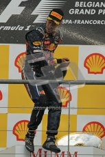 © Octane Photographic Ltd. 2011. Formula One Belgian GP – Spa – Sunday 28th August 2011 – Sebastian Vettel gets a face-full of victory Champagne. Digital Reference : 0169cb1d1104