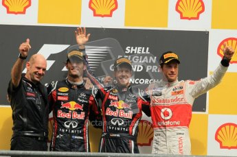 © Octane Photographic Ltd. 2011. Formula One Belgian GP – Spa – Sunday 28th August 2011 – Vettel, Button, Webber and Newey wave to the crowd. Digital Reference : 0169cb1d1177