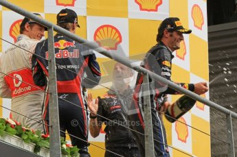 © Octane Photographic Ltd. 2011. Formula One Belgian GP – Spa – Sunday 28th August 2011 – Vettel, Button and Webber on the podium. Digital Reference : 0169lw7d0246
