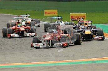 © Octane Photographic Ltd. 2011. Formula One Belgian GP – Spa – Sunday 28th August 2011 – Race. Fernando Alonso leads Mark Webber as Vettel makes a break for the horizon. Digital Reference : 0168cb1d0779