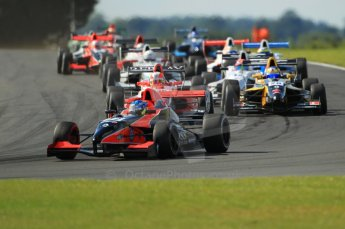 © Octane Photographic Ltd. 2011. Formula Renault 2.0 UK – Snetterton 300, Jordan King - Manor Competition heading the field into Montreal hairpin. Sunday 7th August 2011. Digital Ref : 0123CB1D3601