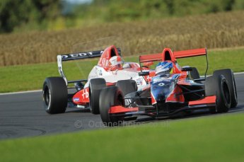 © Octane Photographic Ltd. 2011. Formula Renault 2.0 UK – Snetterton 300, Jordan King - Manor Competition under pressure from Alex Lynn - Fortec Motorsports, a battle that would end up with fines and lost championship points all round. Sunday 7th August 2011. Digital Ref : 0123CB1D3633
