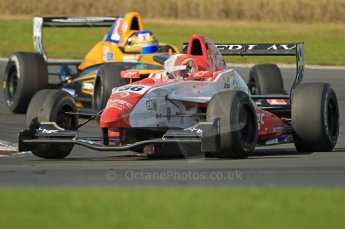 © Octane Photographic Ltd. 2011. Formula Renault 2.0 UK – Snetterton 300, Alex Lynn - Fortec Motorsports and Tio Ellinas - Atech Reid GP battling it out. Sunday 7th August 2011. Digital Ref : 0123CB1D3728