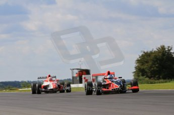 © Octane Photographic Ltd. 2011. Formula Renault 2.0 UK – Snetterton 300 Jordan King - Manor Competition watching Alex Lynn - Fortec Motorsports in his mirrros. Sunday 7th August 2011. Digital Ref : 0123LW7D0319