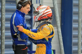 © Octane Photographic Ltd. The British F3 International & British GT Championship at Rockingham. Support Series - Dunlop MSA Formula Ford Championship of Great Britain. Felipe Nasr shares a moment with team member. Digital Ref: 0188CB1D0286