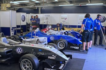 © Octane Photographic Ltd. The British F3 International & British GT Championship at Rockingham. Carlin team garage. Digital Ref: 0188LW7D1164