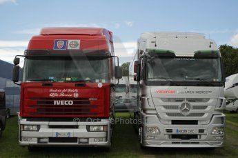 © Octane Photographic 2011. Goodwood Festival of Speed, Thursday 30th June 2011. Vodofone McLaren Mercedes and Alfa Romeo transporters. Digital Ref : 0097CB1D9965