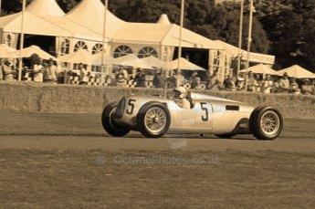 © Octane Photographic 2011. Goodwood Festival of Speed, Historic F1 Auto Union, Friday 1st July 2011. Digital Ref : 0101CB17421-sepia