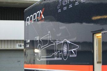 © Octane Photographic 2011. GP2 Official pre-season testing, Silverstone, Tuesday 5th April 2011. Rapax logo on transporter. Digital Ref : 0039CB1D6112