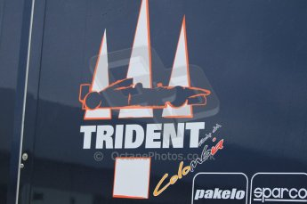© Octane Photographic 2011. GP2 Official pre-season testing, Silverstone, Tuesday 5th April 2011. Trident logo on transporter. Digital Ref : 0039CB1D6133