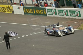 © Octane Photographic 2011. Le Mans finish line and podium - Sunday 11th June 2011. La Sarthe, France. Digital Ref : 0263cb1d3647