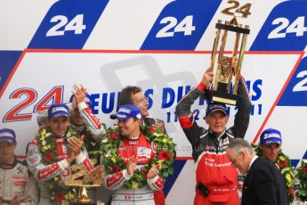 © Octane Photographic 2011. Le Mans finish line and podium - Sunday 11th June 2011. La Sarthe, France. Digital Ref : 0263cb7d1291