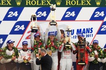 © Octane Photographic 2011. Le Mans finish line and podium - Sunday 11th June 2011. La Sarthe, France. Digital Ref : 0263cb7d1299