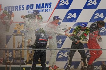© Octane Photographic 2011. Le Mans finish line and podium - Sunday 11th June 2011. La Sarthe, France. Digital Ref : 0263cb7d1311