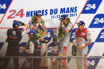 © Octane Photographic 2011. Le Mans finish line and podium - Sunday 11th June 2011. La Sarthe, France. Digital Ref : 0263cb7d1314