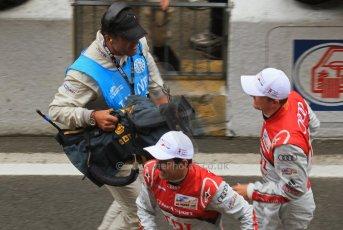 © Octane Photographic 2011. Le Mans finish line and podium - Sunday 11th June 2011. La Sarthe, France. Digital Ref : 0263lw7d7849