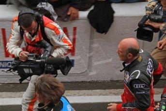 © Octane Photographic 2011. Le Mans finish line and podium - Sunday 11th June 2011. La Sarthe, France. Digital Ref : 0263lw7d7871