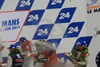 © Octane Photographic 2011. Le Mans finish line and podium - Sunday 11th June 2011. La Sarthe, France. Digital Ref : 0263lw7d8324