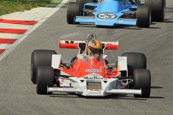 © Octane Photographic Ltd. 2011 Masters Racing Espiritu de Montjuic, April 10th 2011. Ex-James Hunt McLaren M26, d'Anbsembourg. Grand Prix masters, Historic Formula 1 racing. Digital Ref : 0042CB1D1237