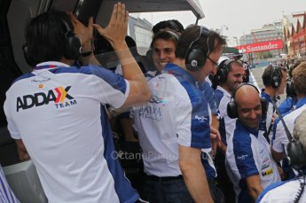 © Octane Photographic Ltd. 2011. European Formula1 GP, Friday 24th June 2011. GP2 Qualifying. Barwa Addax team celebrating. Digital Ref:  0084CB1D7343