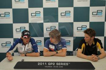 © Octane Photographic Ltd. 2011. European Formula1 GP, Friday 24th June 2011. GP2 Qualifying. GP2 qualifying press conference, Charles Pic and Giedo Van der Garde - Barwa Addax Team, Romain Grosjean - Dams. Digital Ref:  0084CB1D7474