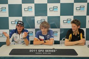 © Octane Photographic Ltd. 2011. European Formula1 GP, Friday 24th June 2011. GP2 Qualifying. GP2 qualifying press conference, Charles Pic and Giedo Van der Garde - Barwa Addax Team, Romain Grosjean - Dams. Digital Ref:  0084CB1D7486