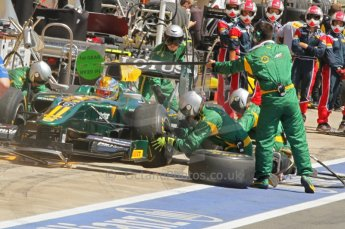 © Octane Photographic Ltd. 2011. European Formula1 GP, Saturday 25th June 2011. GP2 Race 1. Esteban Gutierez in the Lotus ART pit for a tyre change. Digital Ref: 0085CB1D7981