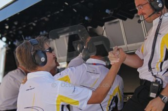 © Octane Photographic Ltd. 2011. European Formula1 GP, Saturday 25th June 2011. GP2 Race 1. The jubilant DAMS team after Romain Grosjean's win. Digital Ref:  0085CB1D8186