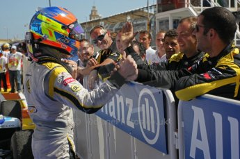 © Octane Photographic Ltd. 2011. European Formula1 GP, Saturday 25th June 2011. GP2 Race 1. Romain Grosjean greeting his DAMS team after his win. Digital Ref: 0085CB1D8297